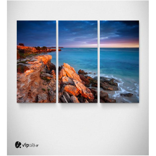 Καμβάς Τρίπτυχος Πίνακας Τοπίο Θάλασσα Βράχια