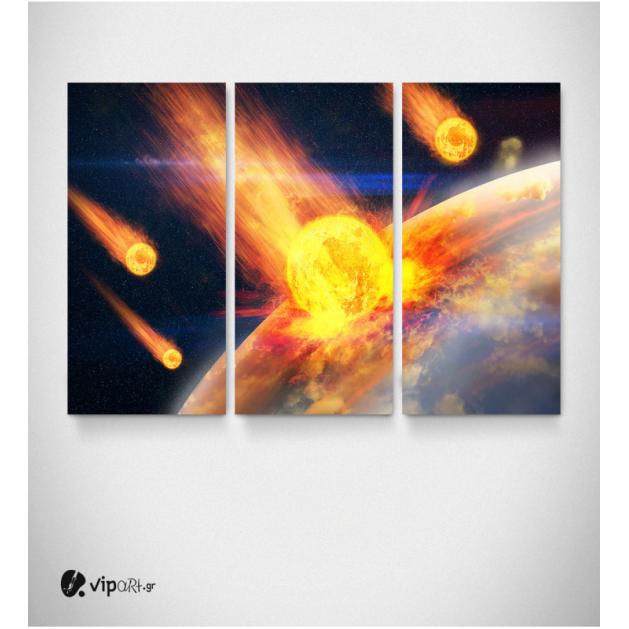 Καμβάς Τρίπτυχος Πίνακας  Επικίνδυνοι αστεροειδείς Σύγκρουση με Πλανήτη