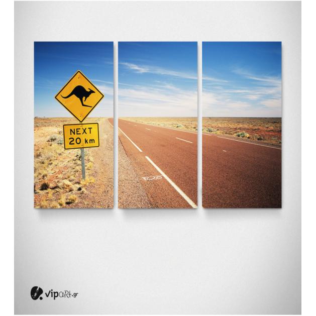Καμβάς Τρίπτυχος Πίνακας Αυστραλία Ταμπέλα Κανγκουρό Δρόμος