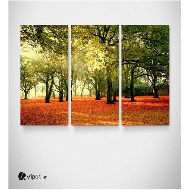 Καμβάς Τρίπτυχος Πίνακας Φθινόπωρο στο δάσος πεσμένα φύλλα