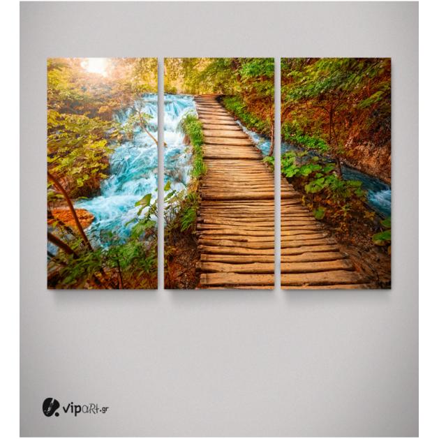 Καμβάς Τρίπτυχος Πίνακας Τοπίο με Ξύλινη Γέφυρα Ποτάμι