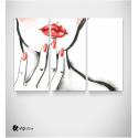 Καμβάς Τρίπτυχος Πίνακας με Ζωγραφιά Γυναίκας κόκκινα νύχια - κραγιόν