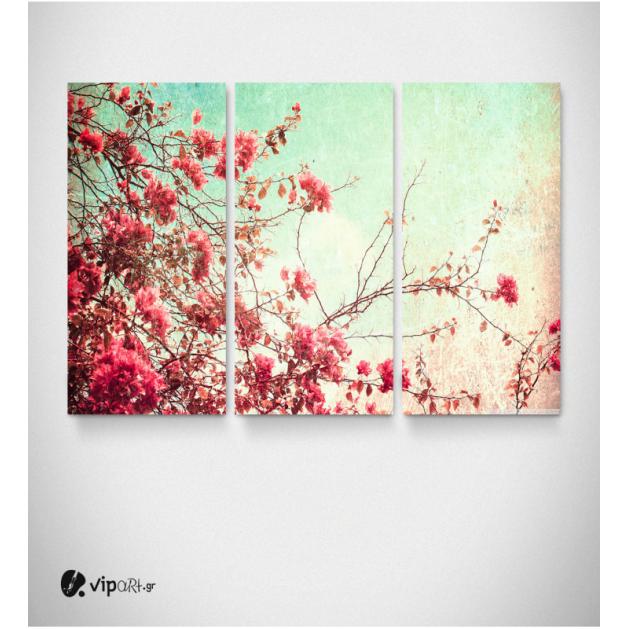 Καμβάς Τρίπτυχος Πίνακας με Λουλούδια Vintage
