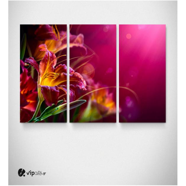 Καμβάς Τρίπτυχος Πίνακας με Λουλούδια Ροζ - Κίτρινα