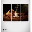 Καμβάς Τρίπτυχος Πίνακας Με κόκκους καφέ σε τσουβάλι espresso