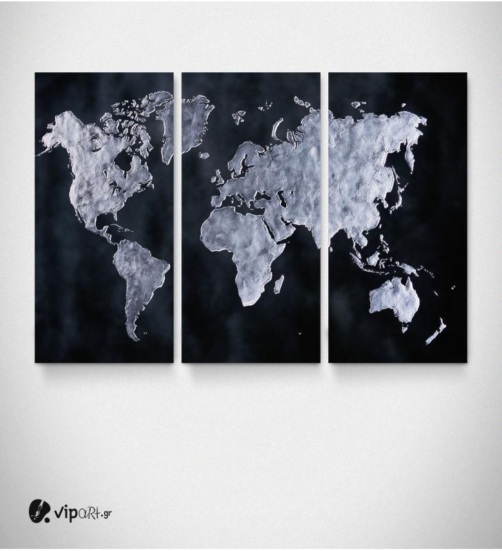Καμβάς Τρίπτυχος Πίνακας Παγκόσμιος Χάρτης σε Αποχρώσεις Μαύρο Νίκελ