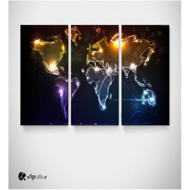 Καμβάς Τρίπτυχος Πίνακας Παγκόσμιος Χάρτης με φωτεινές γραμμές διάφορα χρώματα