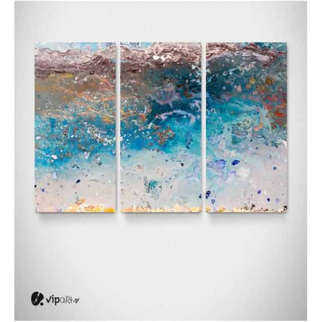 Μοντέρνος Τρίπτυχος Πίνακας Καμβάς με Μπλε - Καφέ - Χρυσές Αποχρώσεις