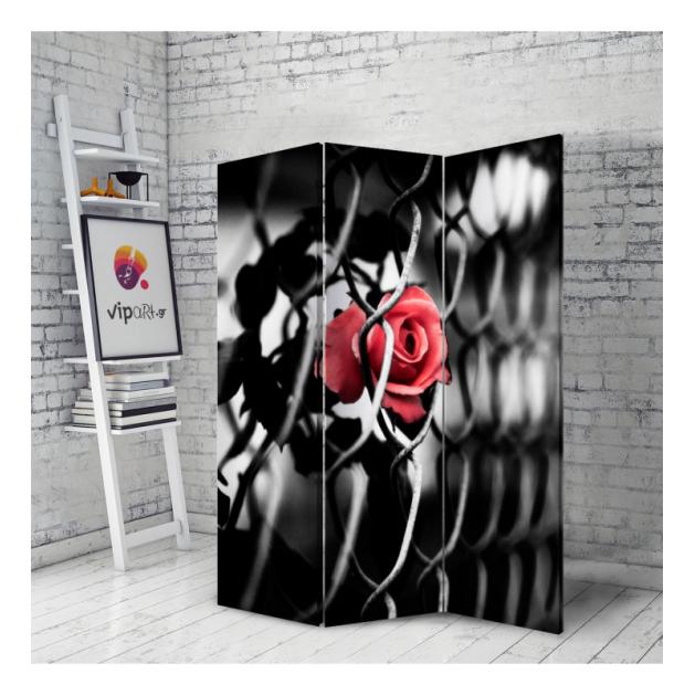 Διακοσμητικό Παραβάν Μαύρο - Τριαντάφυλλο
