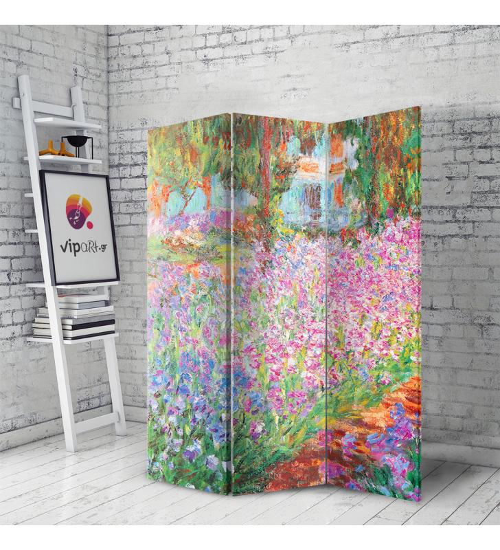 Διακοσμητικό Παραβάν Σε Καμβά Irises In Monet's Garden