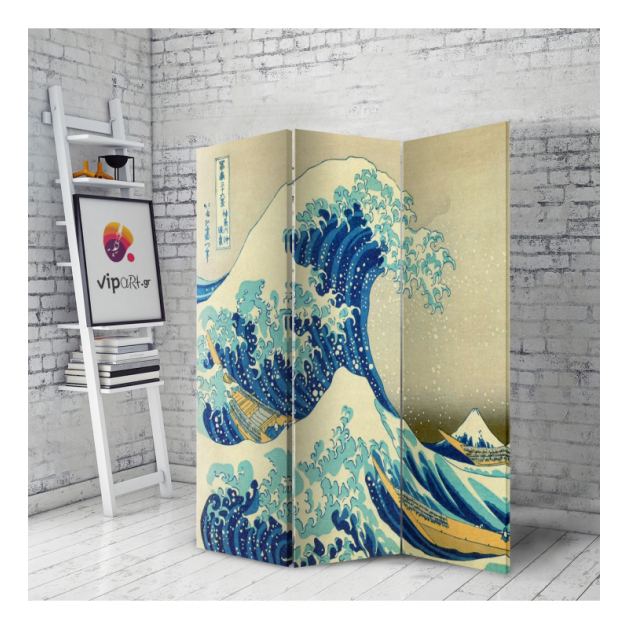 Διακοσμητικό Παραβάν Σε Καμβά Great Wave - Hokusai