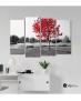 Πίνακας Καμβάς Τετράπτυχος  Κόκκινο Δέντρο Θάλασσα - Παγκάκι