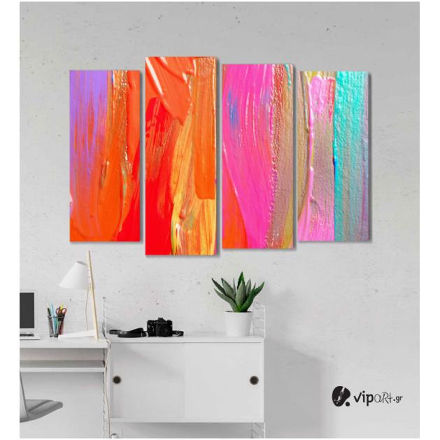 Πίνακας Καμβάς Τετράπτυχος  Ακρυλικά Χρώματα