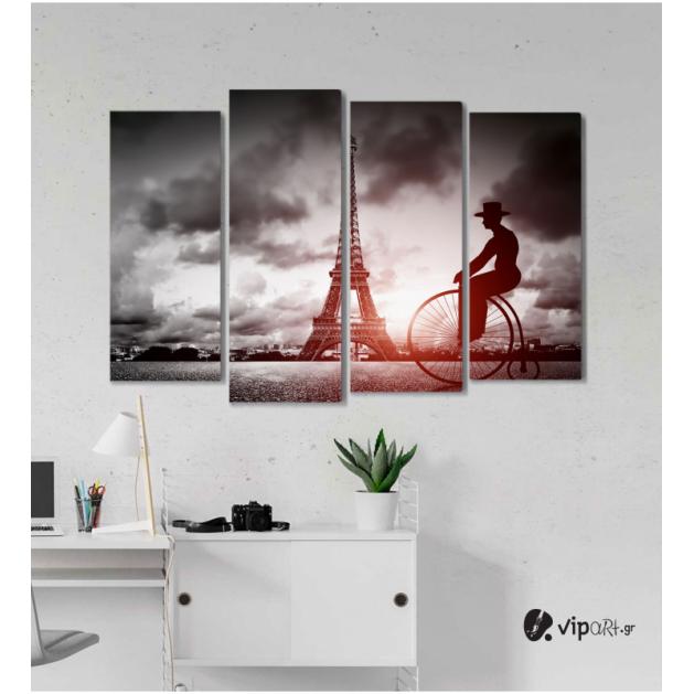 Πίνακας Καμβάς Τετράπτυχος Παρίσι - Ποδήλατο