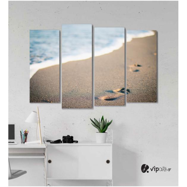 Πίνακας Καμβάς Τετράπτυχος Θάλασσα & Άμμος