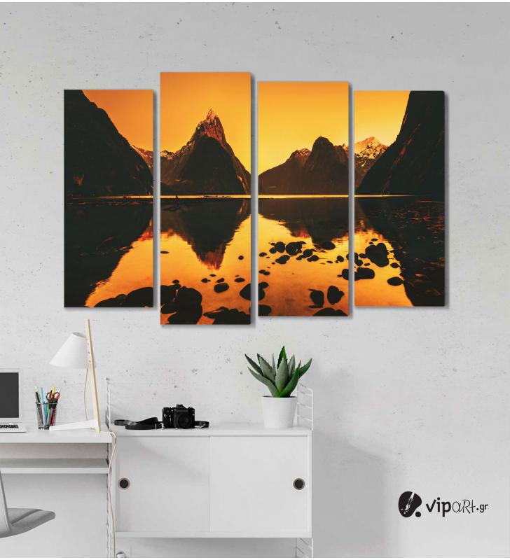 Πίνακας Καμβάς Τετράπτυχος Mountain Landscape -  Ορεινό τοπίο