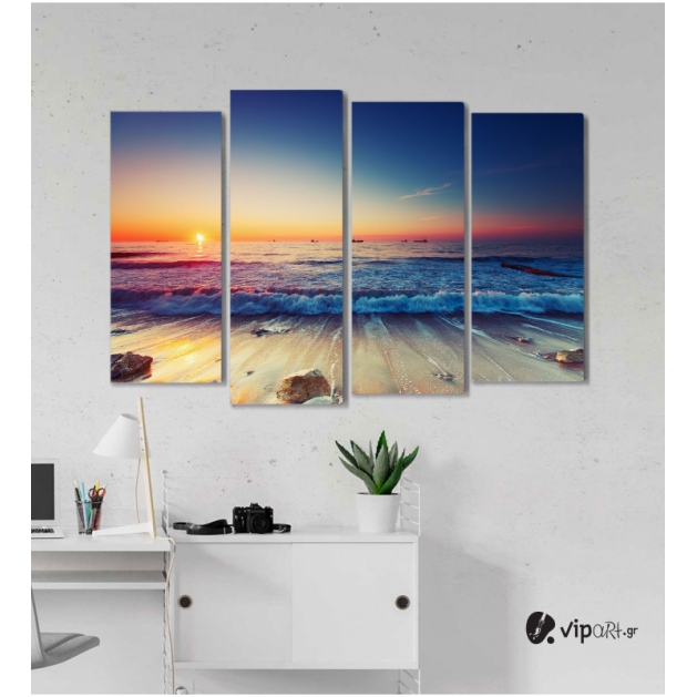 Πίνακας Καμβάς Τετράπτυχος Seaside -  Παραλία