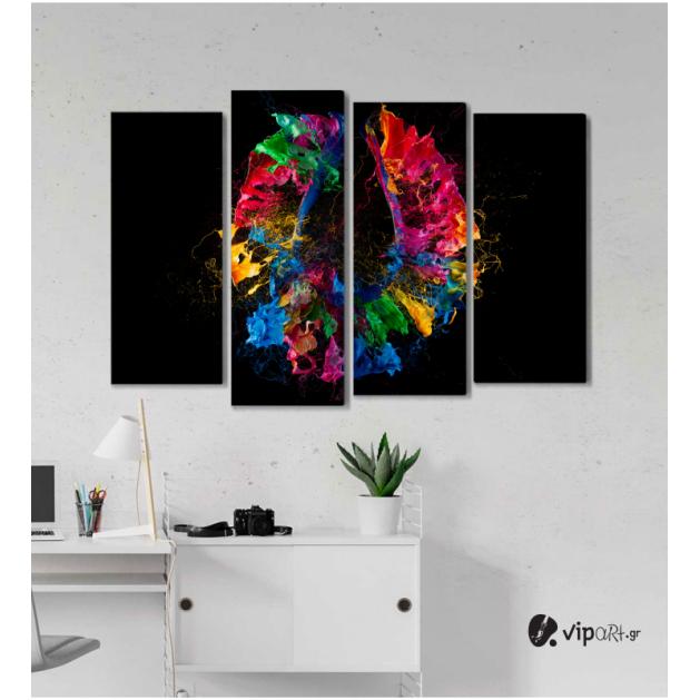 Πίνακας Καμβάς Τετράπτυχος Artistic Colored - Καλλιτεχνικό χρώμα