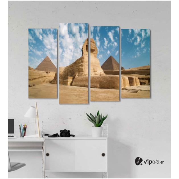 Πίνακας Καμβάς Τετράπτυχος  Σφίγγα της Γκίζας - Αίγυπτος