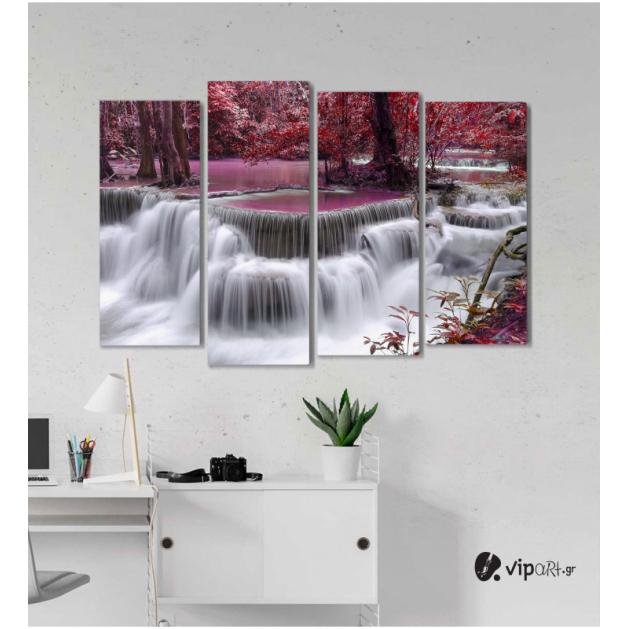Πίνακας Καμβάς Τετράπτυχος Waterfall Nature -  Φύση καταρράκτης