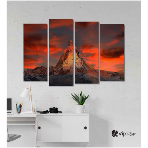 Πίνακας Καμβάς Τετράπτυχος Mountain Snow -  Χιόνι στο βουνό