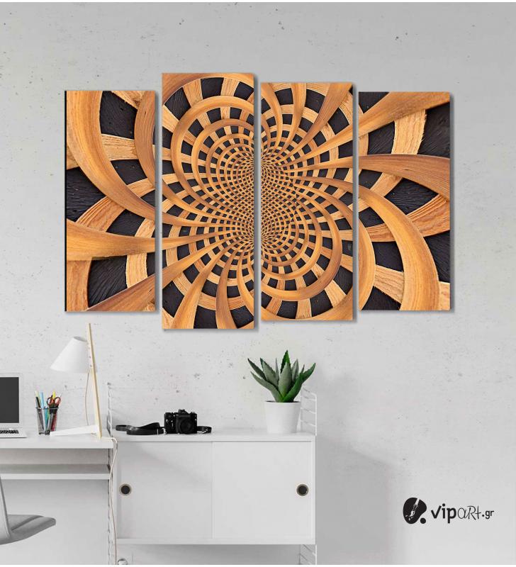 Πίνακας Καμβάς Τετράπτυχος Wooden Design -  Ξύλινο σχέδιο