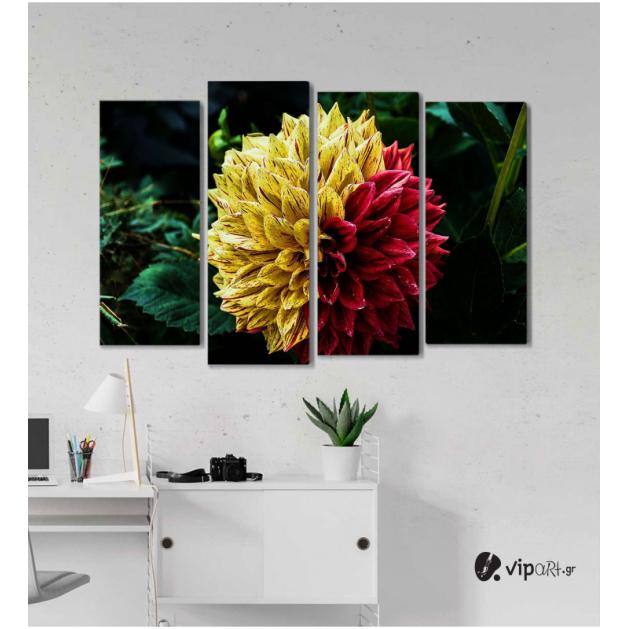 Πίνακας Καμβάς Τετράπτυχος Strange Flower -  Παράξενο λουλούδι