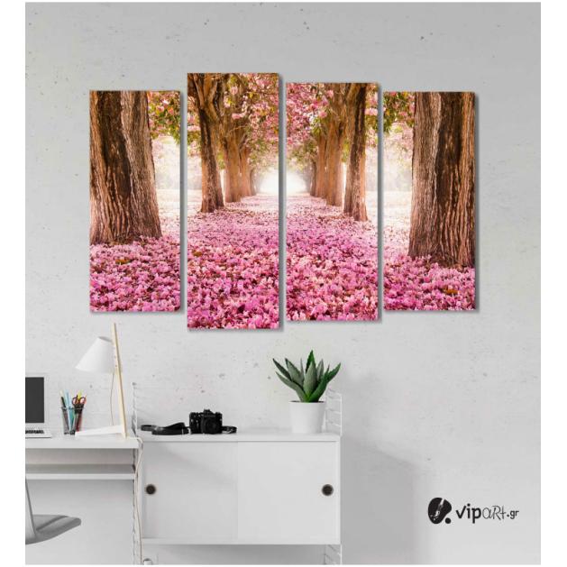 Πίνακας Καμβάς Τετράπτυχος Spring Pink Flowers -  Ροζ λουλούδια άνοιξη
