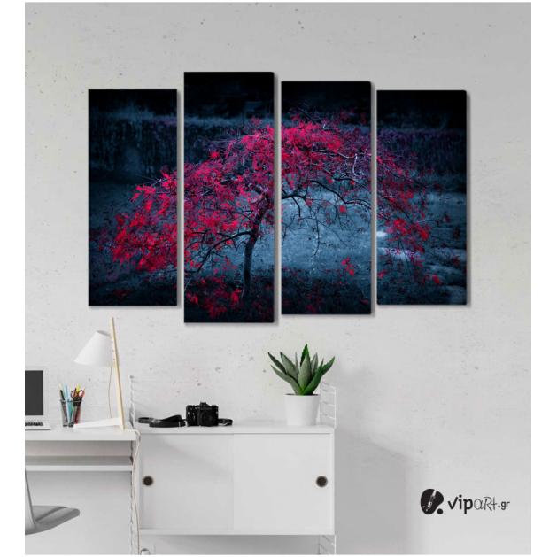 Πίνακας Καμβάς Τετράπτυχος Beautiful Tree -  Όμορφο Ροζ δέντρο
