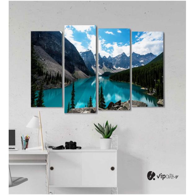 Πίνακας Καμβάς Τετράπτυχος Mountain & Sea -  Βουνό και θάλασσα