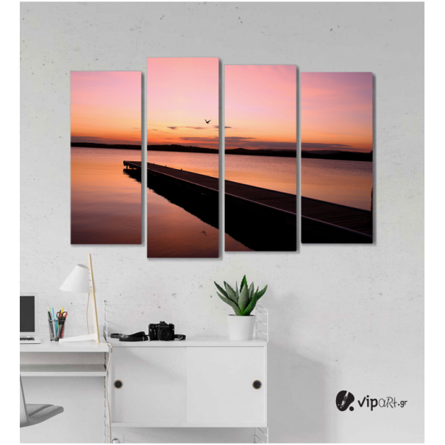 Πίνακας Καμβάς Τετράπτυχος Sunset View -  Ηλιοβασίλεμα