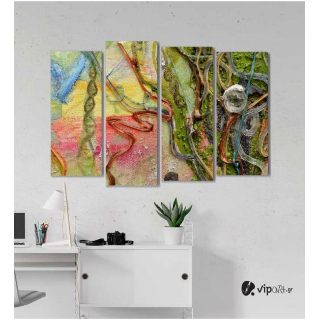Πίνακας Καμβάς Τετράπτυχος Colored Design -  Έγχρωμος σχεδιασμός