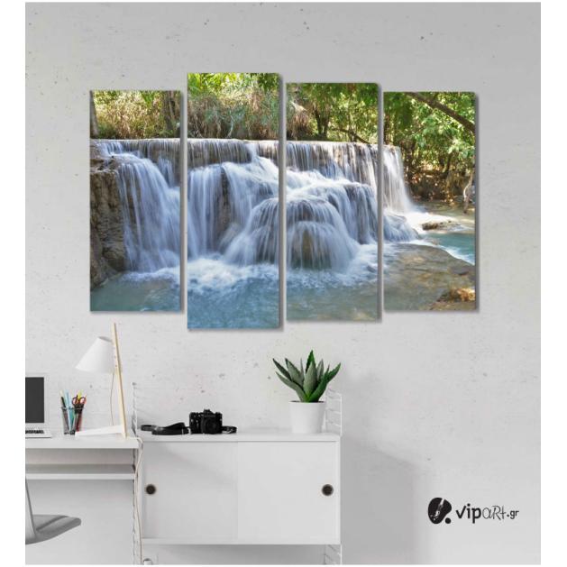 Πίνακας Καμβάς Τετράπτυχος Nature Waterfall -  Καταρράκτης φύση
