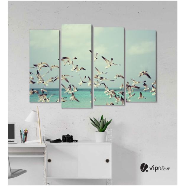 Πίνακας Καμβάς Τετράπτυχος  Birds Flying -  Πουλιά που πετούν