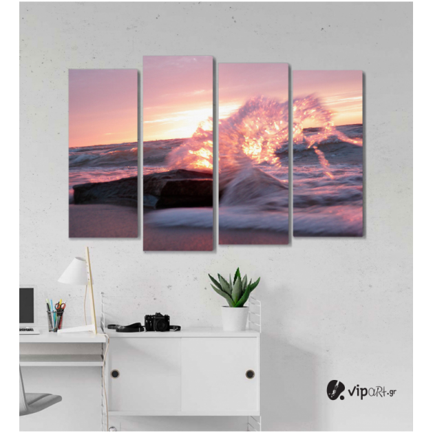 Πίνακας Καμβάς Τετράπτυχος Wild Sea -  Άγρια Θάλασσα