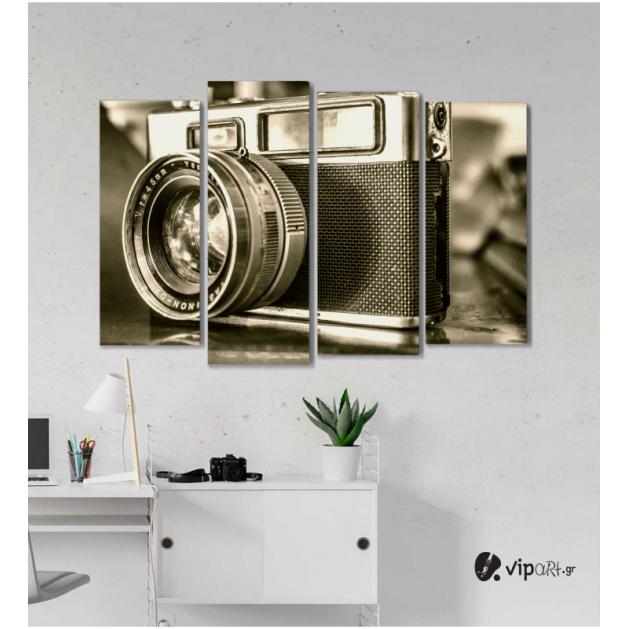 Πίνακας Καμβάς Τετράπτυχος vintage Retro Camera