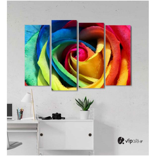 Πίνακας Καμβάς Τετράπτυχος Colored Rose - Χρωματιστό τριαντάφυλλο