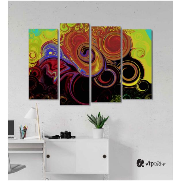 Πίνακας Καμβάς Τετράπτυχος Modern Spiral Art - Σύγχρονη σπειροειδής τέχνη
