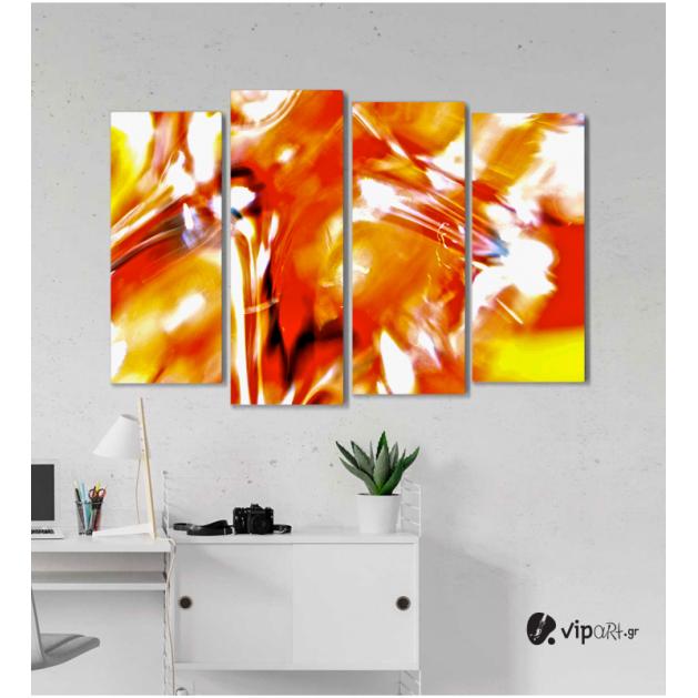 Πίνακας Καμβάς Τετράπτυχος Orange Artistic Paint - Πορτοκαλί καλλιτεχνικό χρώμα