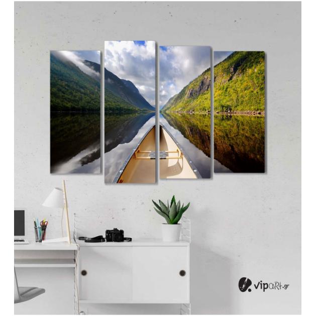 Πίνακας Καμβάς Τετράπτυχος Mountain Boat Mirror -  Καθρέφτης βουνού