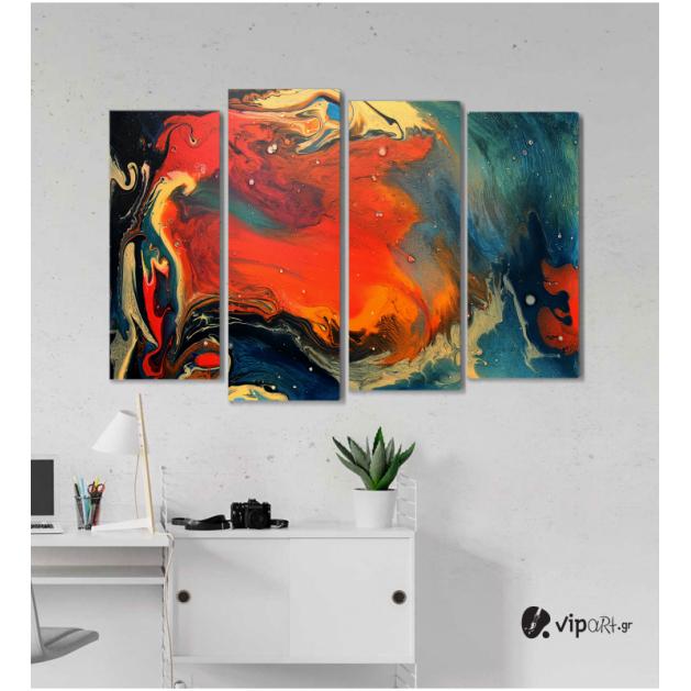 Πίνακας Καμβάς Τετράπτυχος Colored Wavy Design - Χρωματιστό κυματιστό σχέδιο