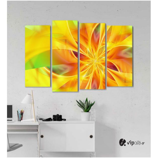 Πίνακας Καμβάς Τετράπτυχος Flower Orange Spiral - Λουλούδι πορτοκαλί σπείρα