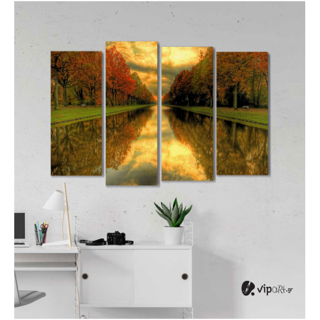 Πίνακας Καμβάς Τετράπτυχος Beautiful Landscape Perspective - Όμορφη προοπτική τοπίου
