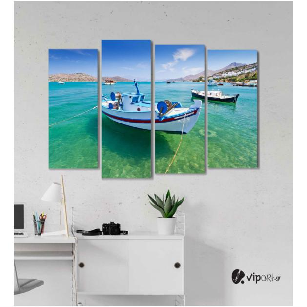 Πίνακας Καμβάς Τετράπτυχος Ελληνικό Νησί Βάρκες