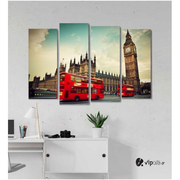 Πίνακας Καμβάς Τετράπτυχος London Wacht -  Ρολόι του Λονδίνου