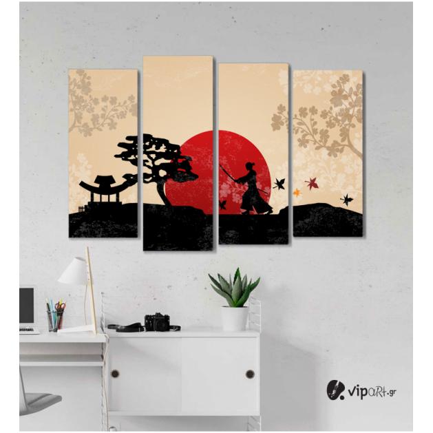 Πίνακας Καμβάς Τετράπτυχος Ηλιοβασίλεμα Ιαπωνία