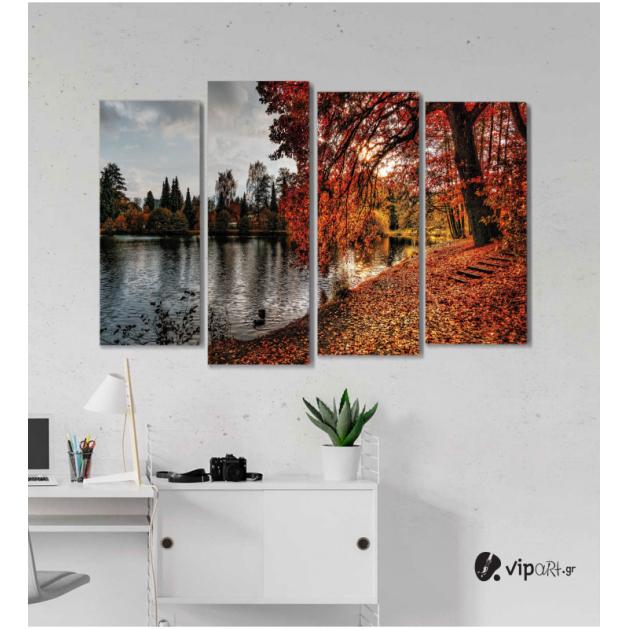 Πίνακας Καμβάς Τετράπτυχος Φθινοπωρινό τοπίο με φύλλα & λίμνη
