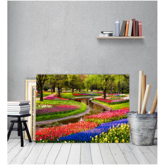 Πίνακας Καμβάς Δέντρα Λουλούδια Ρυάκι
