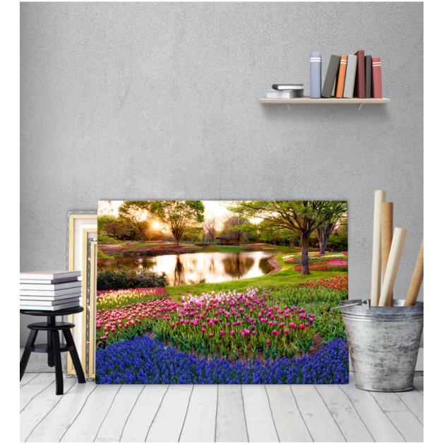Πίνακας Καμβάς Πολύχρωμα Λουλούδια Ρυάκι