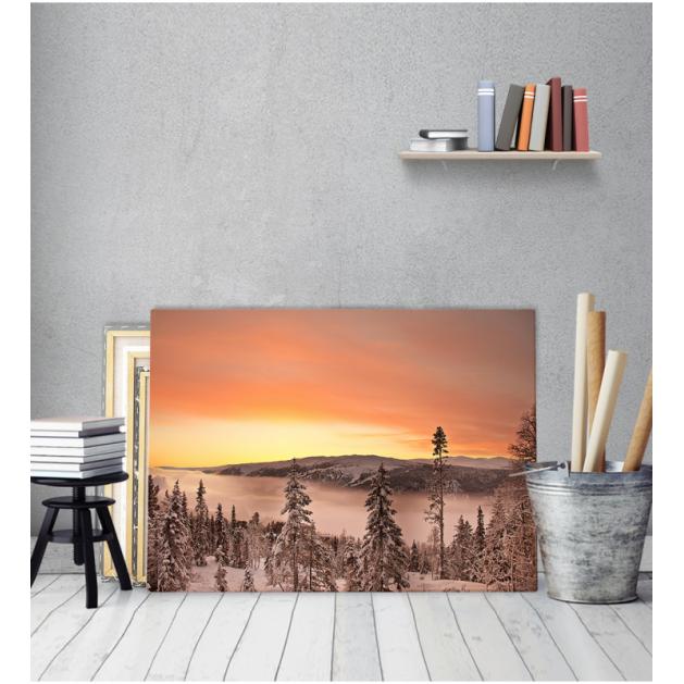 Πίνακας Καμβάς Ηλιοβασίλεμα Βουνό Χιόνι